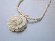 Pre Ban Ivory Necklace Carved Rose