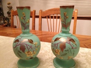 12-0119 - Pair of blue Bristol vases - lot 809 (3)