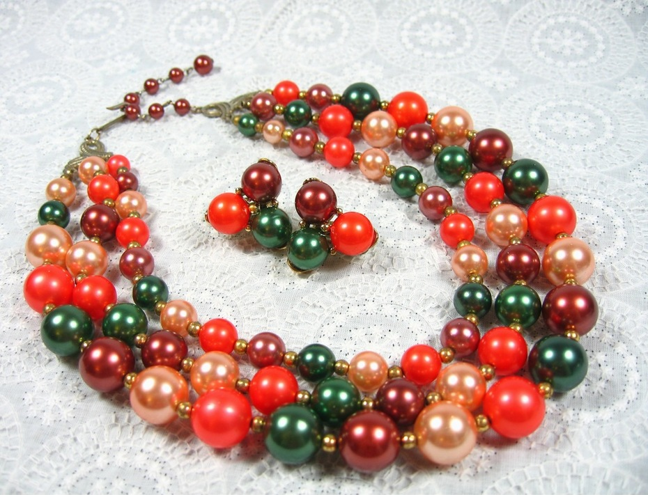 Vintage 1950s Multi Strand Necklace and Bead Cluster Earrings Set, Fall Orange Green Maroon Peach Beads