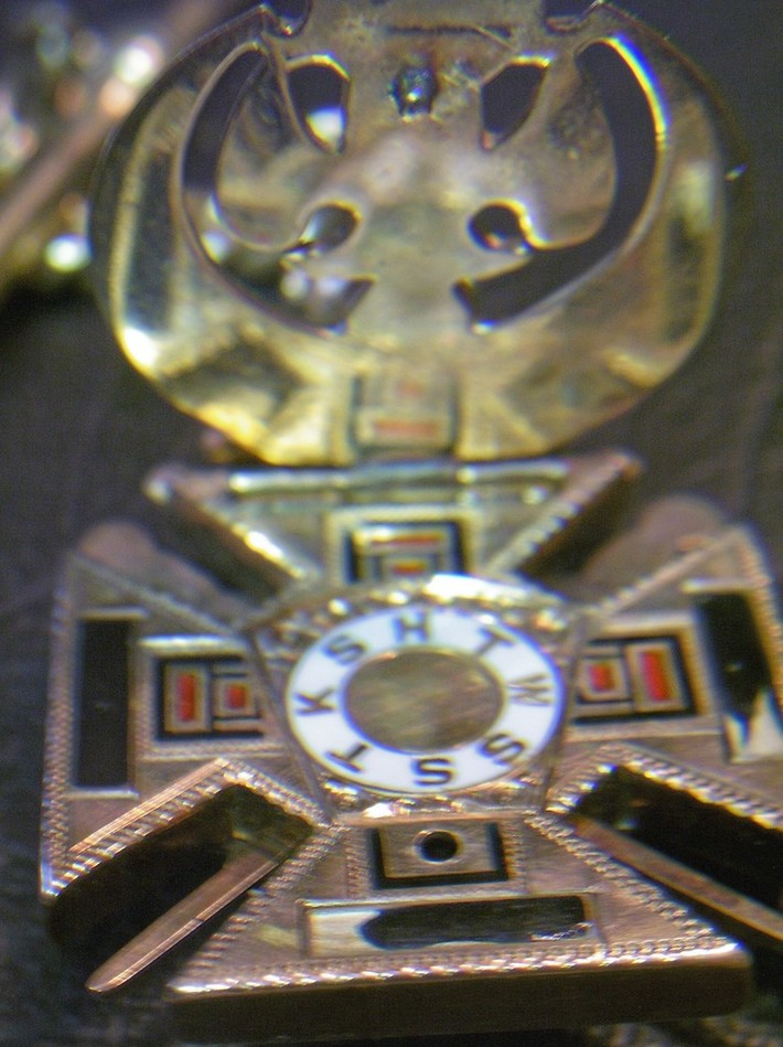 Mason's watch fob close up opened up