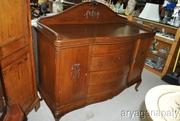 Fantastic Large Solid English Oak Wood Bow Front Side Board Circa 1920