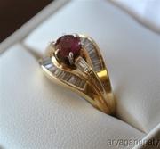 1 Carat Round Cut Ruby & Diamond Baguette 14k Gold Ring