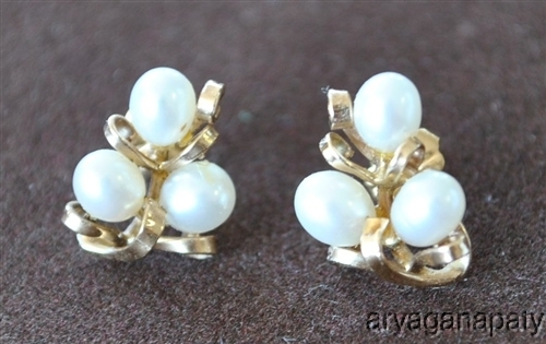 14K Gold White Cultured Pearl Post Earrings