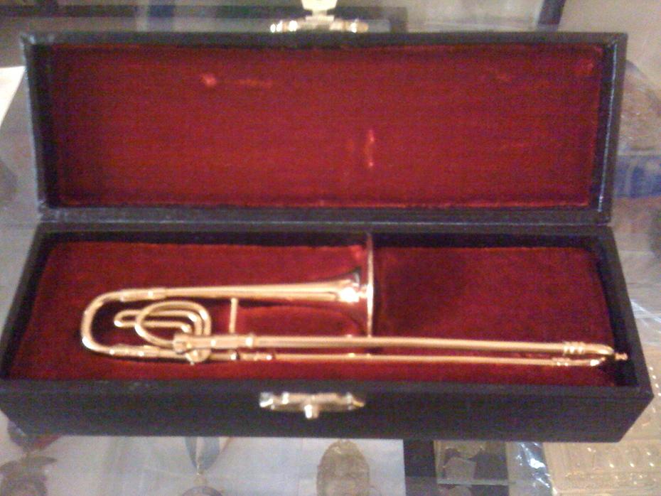 miniature brass trombone