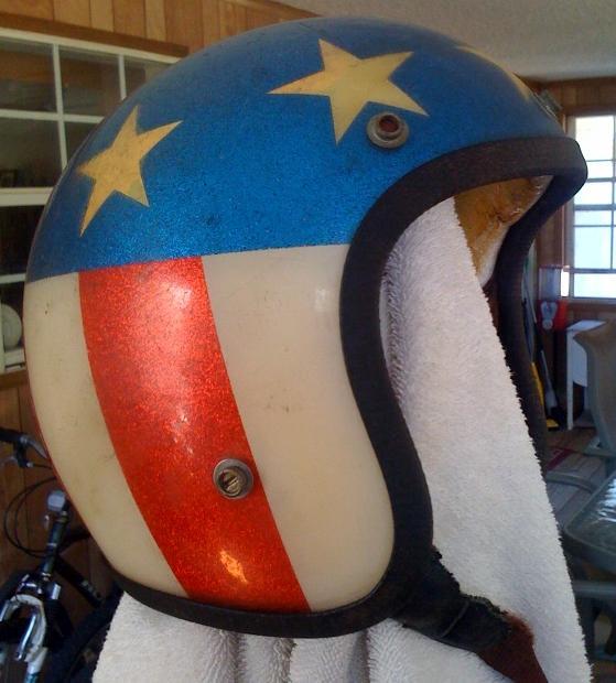vintage 1970s biker helmet