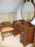 Late 1920's Art Deco Vintage Vanity with Chair & Mirror