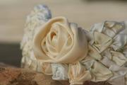 Bridal Headpiece/tiera of  ribbon flowers