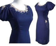 Vintage 50s Royal Blue Pearl Beaded Linen Dress