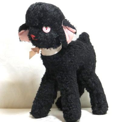 Vintage Thorens music box black lamb like teddy bear