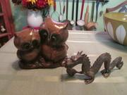 Napcoware owl planter & brass dragon