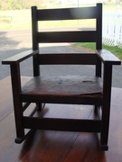 Old Wooden Child's Rocking Chair with Leather seat