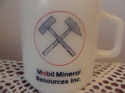 Mobil Mineral Resources Inc  Vintage milk glass Mug by Galaxy