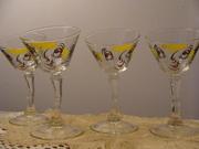 1950's Gay Fad crooked stem Tipsy Bar ware Glasses