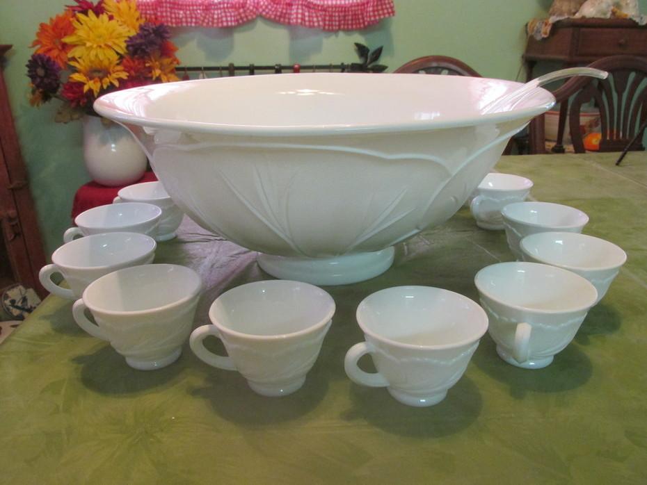 Milk Glass punch bowl