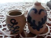 Miniature Pottery Crock & Jug with blue Design