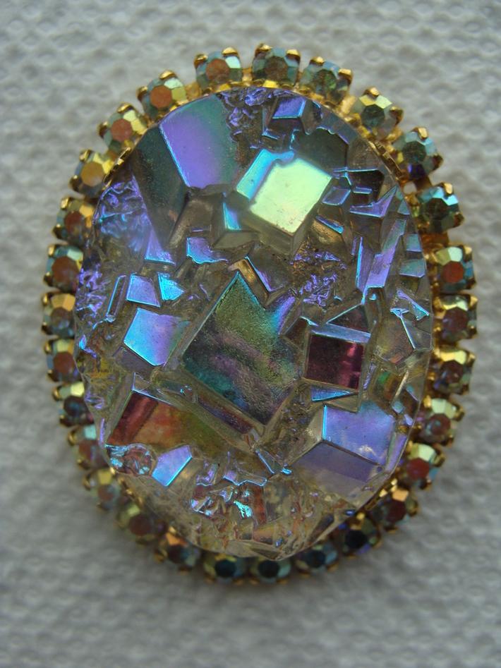 Juliana D&E Geode Rock Crystal Brooch - Book Piece