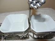 Vintage Silver Relish Tray - Silver Plated Relish Fork - Circa 1950