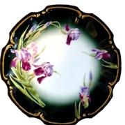 LIMOGES T&V Tressemann Vogt PLATE Floral/ Iris Hand Painted 1900s Multi-colored