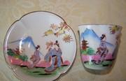 Vintage Kutani Kosen China CUP and Saucer geisha old made in Japan, demitassee