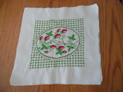 Vintage Needlepoint Embroidery, Strawberries, Finished Unframed