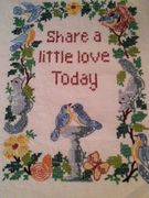 Vintage Linen Cross Stitch National Paragon 1976 Completed Blue Birds Share Love