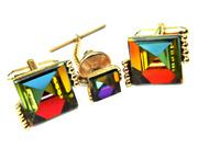 Vintage Dante Cufflinks And Tie Tac Set Rainbow Spectrum Prism Vintage Accessory For Men