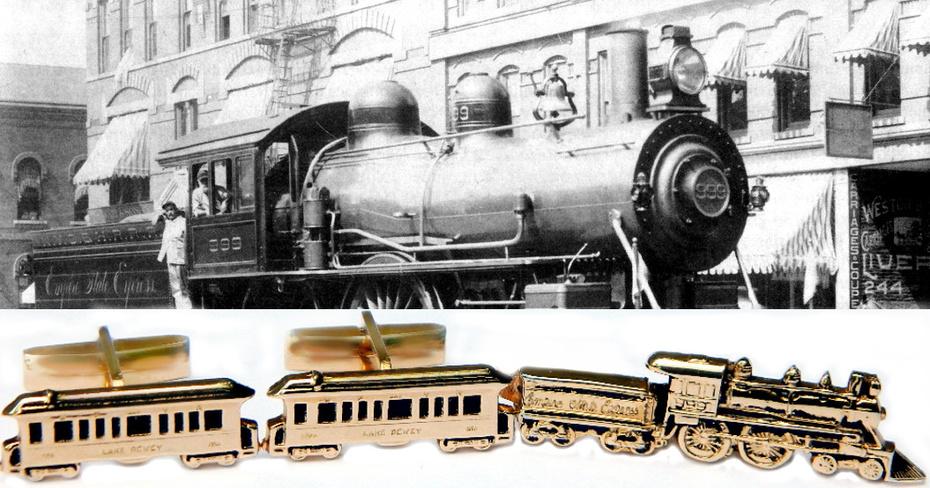 Vintage Railroad Train Cufflinks And Tie Clip Empire State Express Locomotive Tie Clip With Lake Dewey White Pass Yukon Railroad Cufflinks Pioneer 10K Gold Overlay