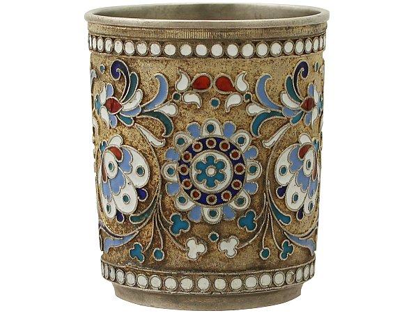 Russian Silver Gilt and Polychrome Cloisonné Enamel Vodka Cup / Beaker - Antique Circa 1905