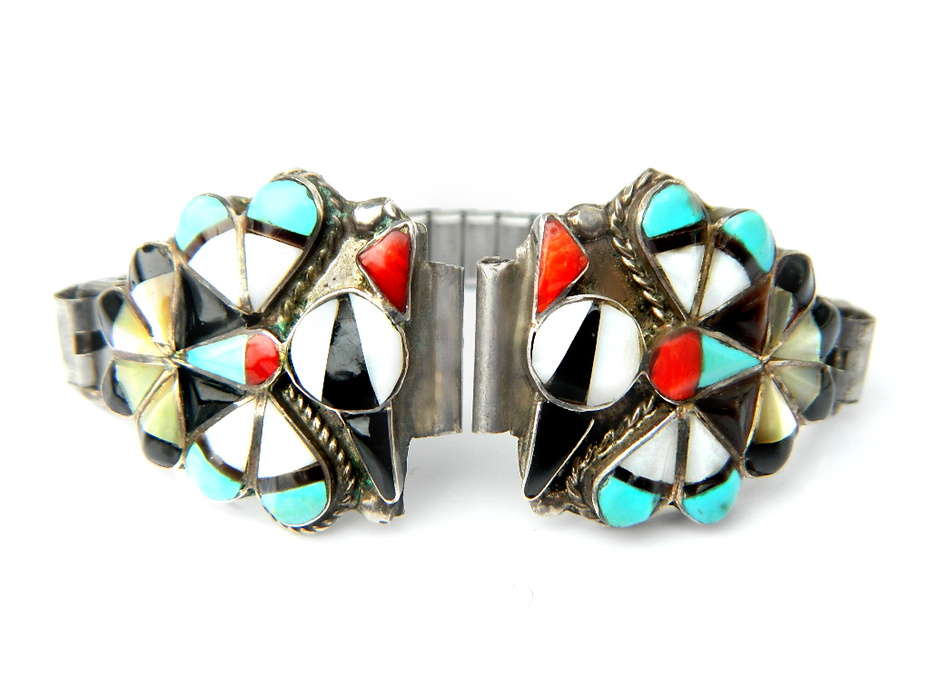 Jeanette Niiha JJ Niiha Thunderbird Watch Band Native American Zuni Sterling Silver Watch Tips With Turquoise, Coral, And Onyx