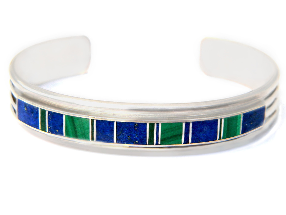 Signed 'A Yazzie' Navajo Sterling Silver Cuff Bracelet With Inlaid Lapis Lazuli And Malachite