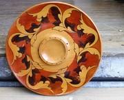 Hand Painted Wooden Serving Platter - Autumn Toned Acanthus Leaf Design - Eric Juckert Vintage Australia