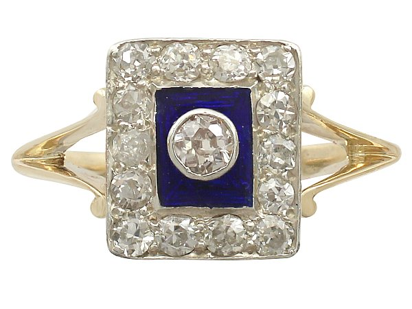 Vintage 0.45 ct Diamond and Blue Enamel, 14 ct Yellow Gold Dress Ring - Circa 1940