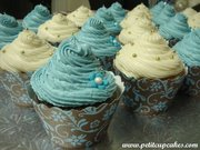 Couture Cupcake Wrappers - Floral Brown & Light Blue