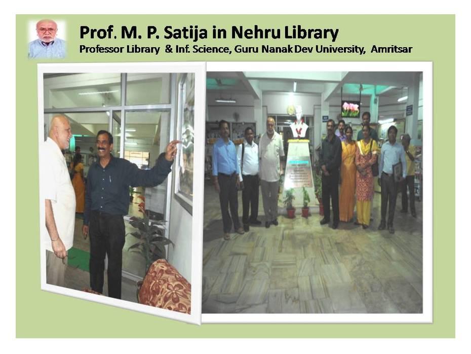 Professor M. P. Satija, Library and Information Science, Guru Nanak Dev University Amritsar in Nehru Library
