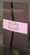 Pink and Chocolate Pocketfold Wedding Invitation