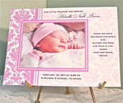 Pink Damask Birth Announcement