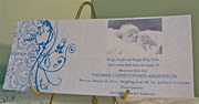 Baby Blue Damask Birth Announcement