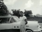 My father with his new car