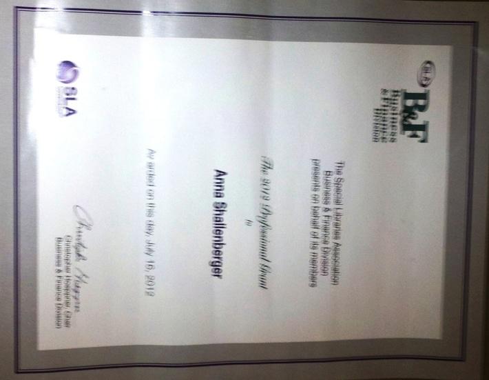 2012 SLA B&F Professional Grant Certificate