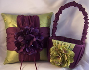 Silk hydrangea ring bearer pillow and flower girl basket