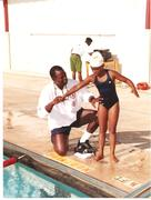 Shari Armstrong 8, and Lee Pitts in 1998 at the Lee Pitts Swim School