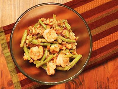 Glazed Long Beans with Shrimp