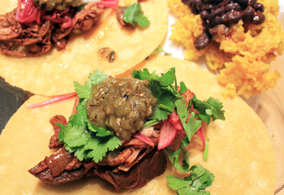 Cochinita Pibil Tacos with Yellow Rice and Black Beans