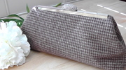 Brown and Cream Hounds Tooth Clutch