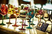 Assorted Hand Painted Wine Glasses