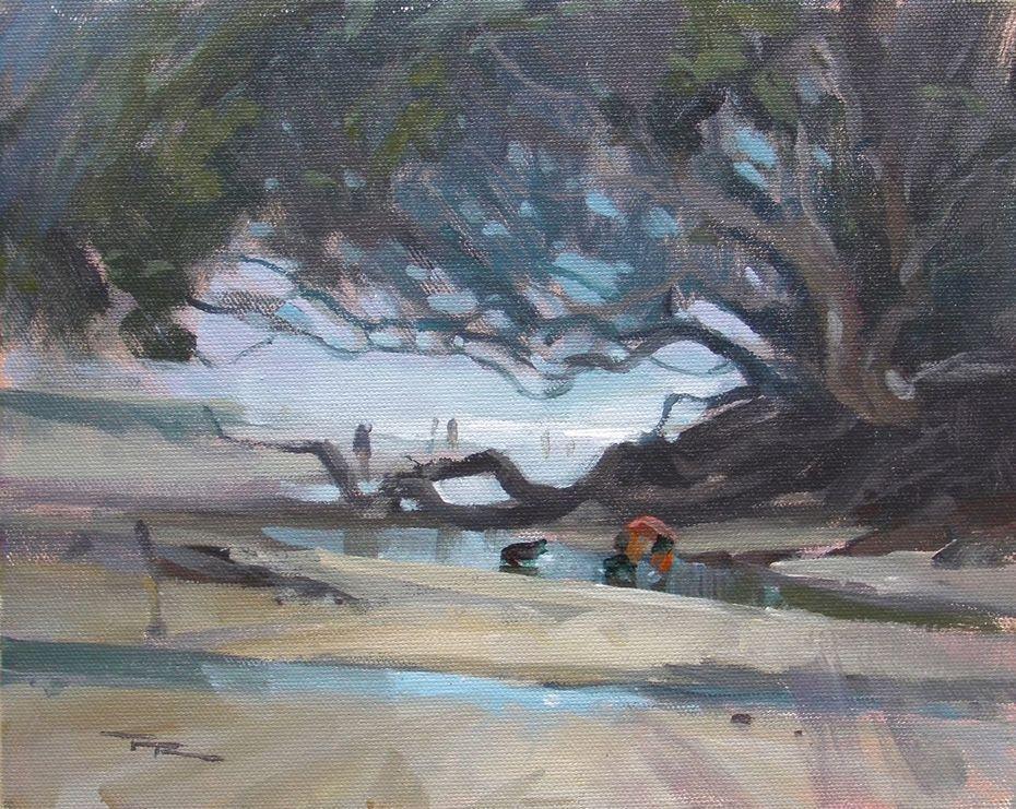 """Gray Day at Waipu Cove - 8x10"""""""