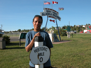 Tracy @ the Official Start of the Alaska Highway