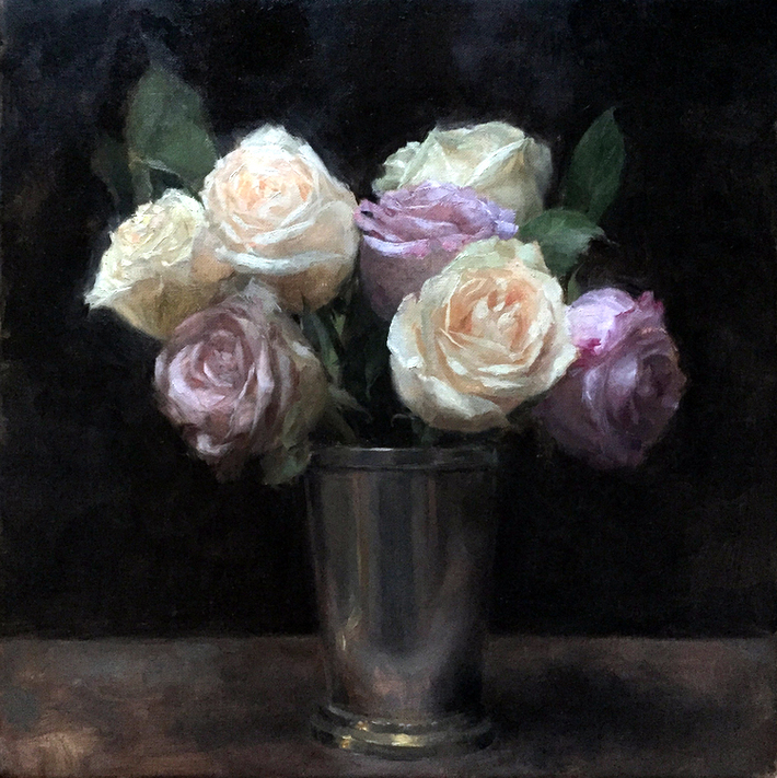 Roses in a Pewter Cup