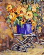 Sunflowers with Purple