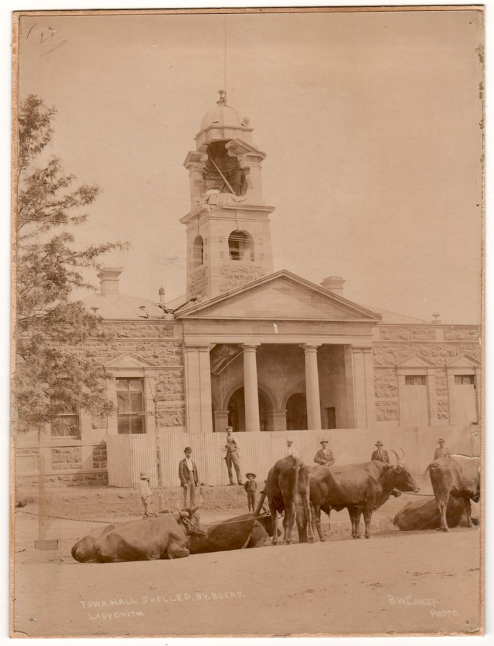 Ladysmith town hall damaged by Boer shelling, South Africa